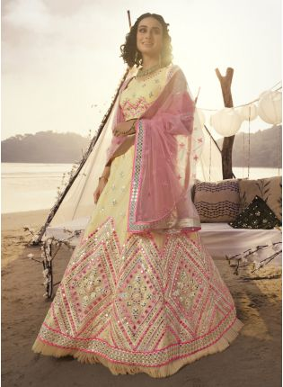 Stellar Off-White Resham Print Panelled Lehenga Choli Set