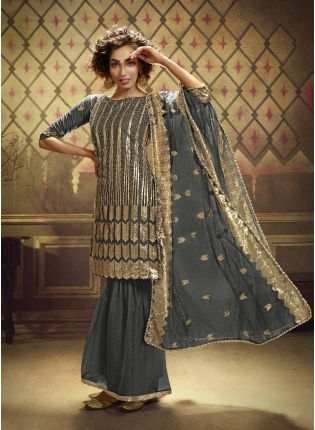 Grey Net with Exotic Golden Sequins Sharara Salwar Suit