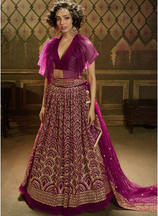 Elegant Wine Soft Net Base Sequin Work Sangeet Special Lehenga Choli