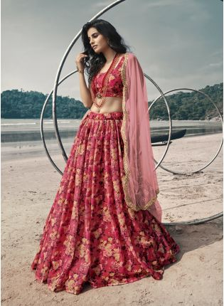 Polished Red Digital Print Organza Flared Lehenga Choli Set