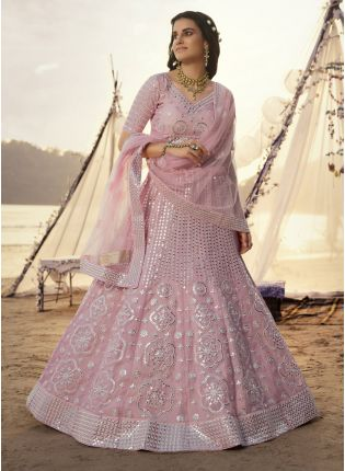 Magical Pink Foil Mirror Work Lehenga Choli Set