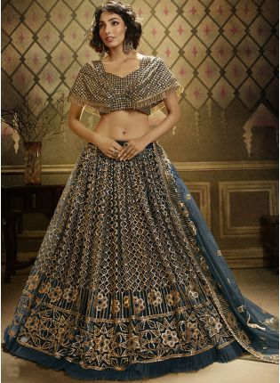Stunning Pine Green Soft Net Base Ceremonial Wear Lehenga Choli
