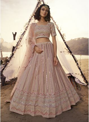 Phenomenal Peach Resham Mirror Work Lehenga Choli Set