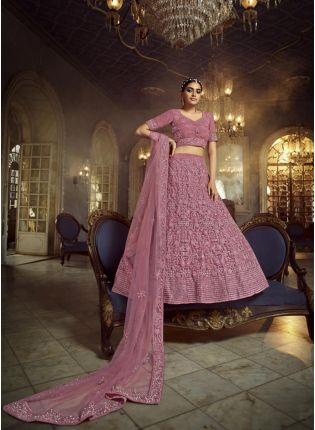 Dashing Pink Dori Zarkan Work Soft Net Lehenga Choli Set