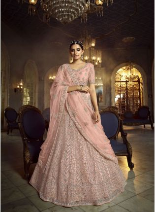Majestic Peach Dori Work Soft Net Panelled Lehenga Choli Set