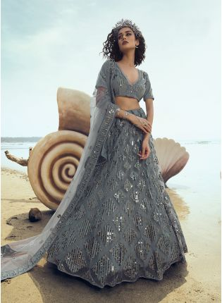 Delightful Pigeon Grey Soft Net Base Wedding Special Lehenga Choli