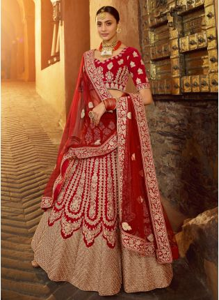 Delightful Red Velvet Base Embroidered Bridal Lehenga Choli