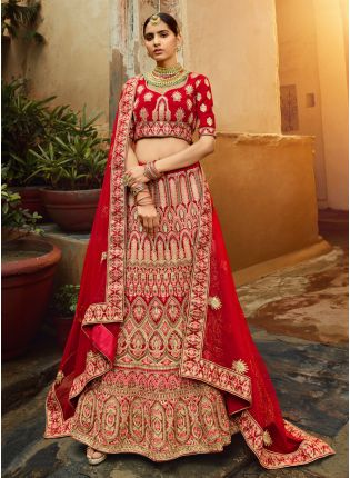 Incredible Red Velvet Base Embroidered Bridal Lehenga Choli
