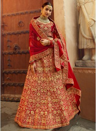 Remarkable Dark Red Velvet Base Zari Work Bridal Lehenga Choli