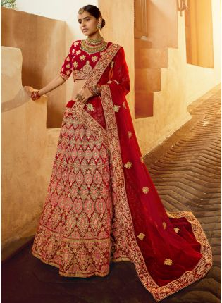 Stunning Red Velvet Base Zari Work Designer Bridal Lehenga Choli