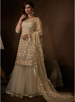 Modish Ethnic Festive Wear Beige Color Soft Net Base Sharara Suit