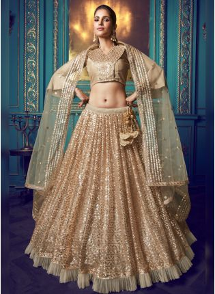 Tempting And Stylish Wheat Beige Soft Net Base Designer Lehenga Choli