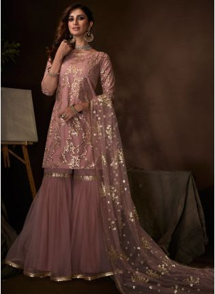 Mind-Blowing Blush Pink Ethnic Festive Wear Soft Net Base Sharara Suit