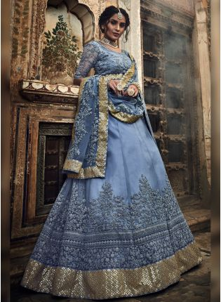 Remarkable Dark Grey Colored Soft Net Designer Flared Lehenga Choli