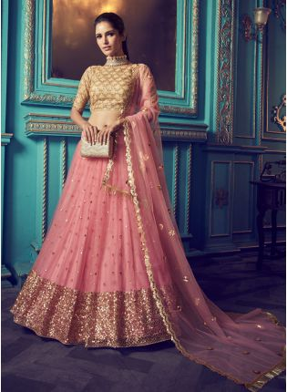 Charming Fairy Pink And Beige Soft Net Ethnic Designer Lehenga Choli