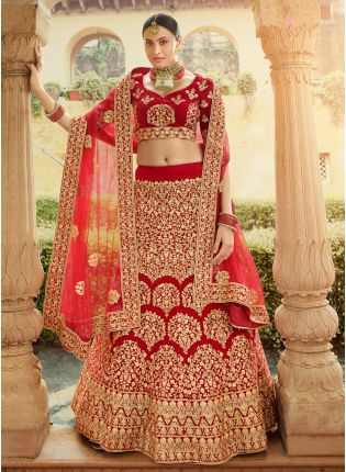 Elegant Red Velvet Base Zari Work Detailed Bridal Lehenga Choli