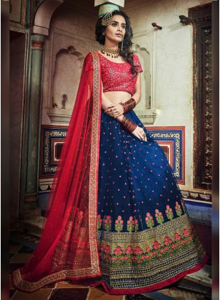Stunning Royal Blue Colored Soft Net Flared Designer Lehenga Choli