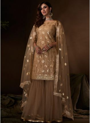 Sparkling Festive Wear Beige Colored Soft Net Base Sequin Sharara Suit