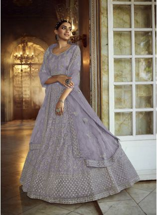 Ravishing Grey Zarkan Dori Soft Net Panelled Lehenga Choli Set