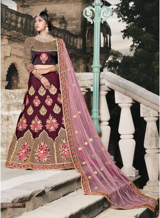 Wine Colored Wedding Wear Silk Lehenga Choli