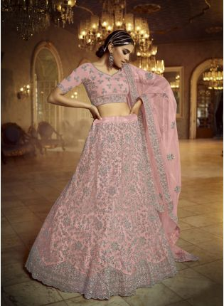 Astonishing Pink Dori Zarkan Soft Net Lehenga Choli Set