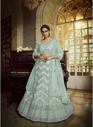 Charismatic Sky Blue Zarkan Dori Soft Net Lehenga Choli Set