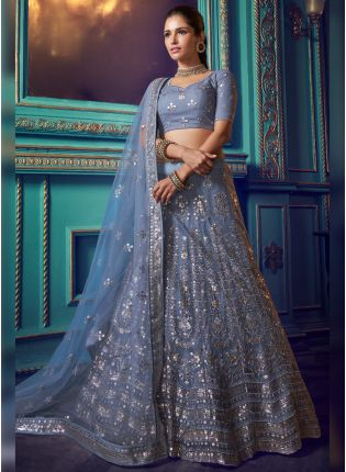 Phenomenal Cloudy Grey Soft Net Base Designer Wedding Lehenga Choli