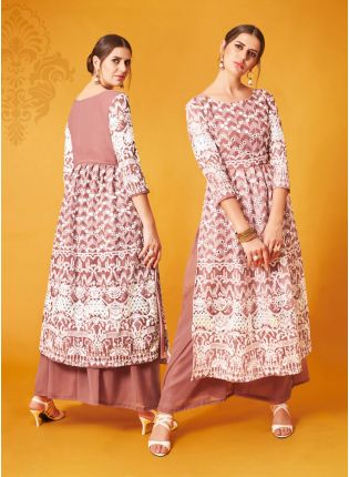 Trendy Peach Pink Palazzo Salwar Suit With Gota And Thread Work
