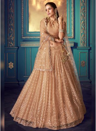 Unbeatable Beige Soft Net Sequin And Zari Work Stylish Lehenga Choli