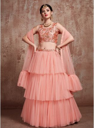 Charming Peach Soft Net Base Ruffle Lehenga Choli For Sangeet Ceremony