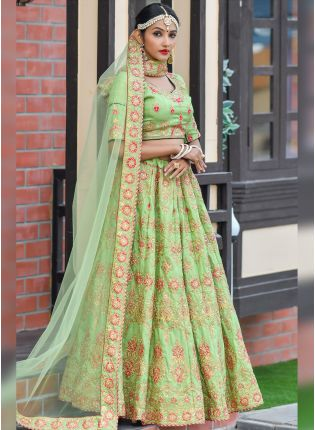 Unbeatable Pista Green Silk Base Designer Embroidered lehenga Choli