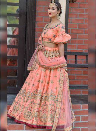 Fantastic Peach Colored Silk Resham Zari And Dori Work Lehenga Choli