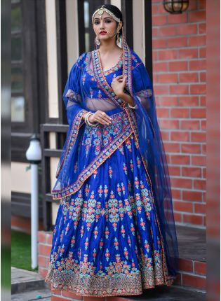 Modish Royal Blue Silk Base Wedding Special Zari Work Lehenga Choli