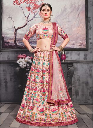 Pink Resham And Zari Silk Soft Net Lehenga Choli