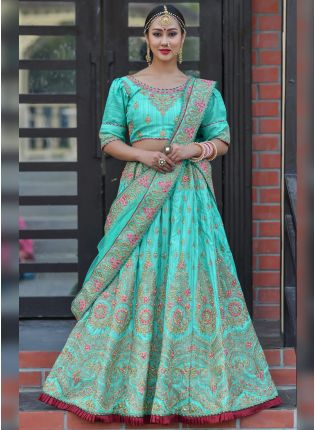 Tempting Sky Blue Silk Base Resham Zari And Dori Work Lehenga Choli