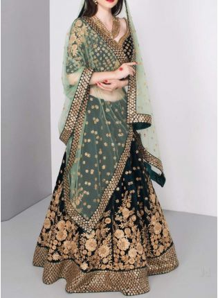 Dark Green Color Wedding Wear Designer Bridal Wear Lehenga Choli