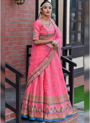 Charming Hot Pink Silk Base Designer Embroidered Lehenga Choli