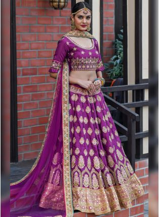 Fabulous Plum Purple Silk Base Embroidered Designer Lehenga Choli