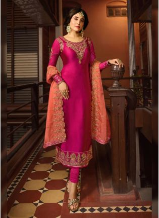 Rani Pink Zari Work And Satin Straight Fit Salwar Suit