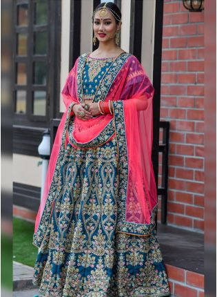 Outstanding Prussian Blue Silk Base Flared Embroidered Lehenga Choli