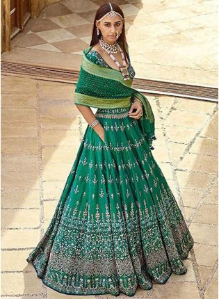 Delightful Dark Green Color Silk Base Embroidred Brides Maid Lehenga Choli
