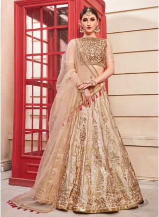 Creame Hand Work Foil Print And Silk Soft Net Lehenga Choli