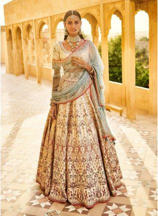 Latest Beige Color Wedding Wear Designer Bridal Hevay Embroidered Lehenga Choli