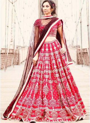 Elegant Pink Wedding Wear Embroidery Work Satin Base Lehenga Choli