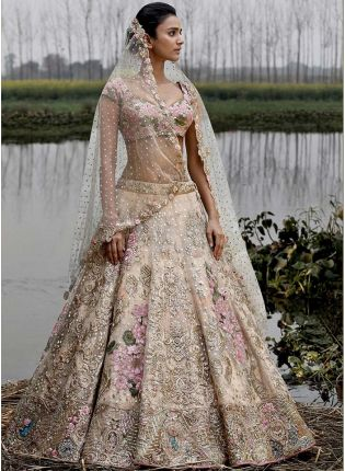 Elegant Off White Color Party Wear Crepe Base Bridal Lehenga Choli