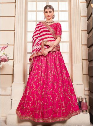 Pink Zari Silk And Georgette Embroidered Lehenga Choli