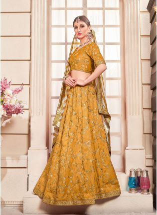 Yellow Zari Silk And Georgette Digital Print Lehenga Choli