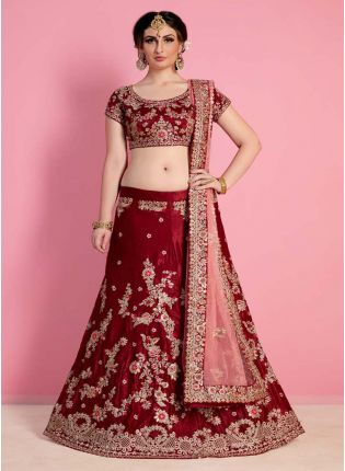 Rose Maroon Heavily Drape Bridal Lehenga Choli
