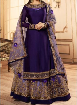 Purple Zari And Satin Fabric Lehenga Style Suit