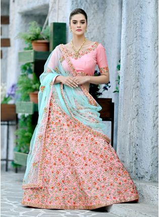 Pink Sequins Resham Silk And Soft Net Lehenga Choli